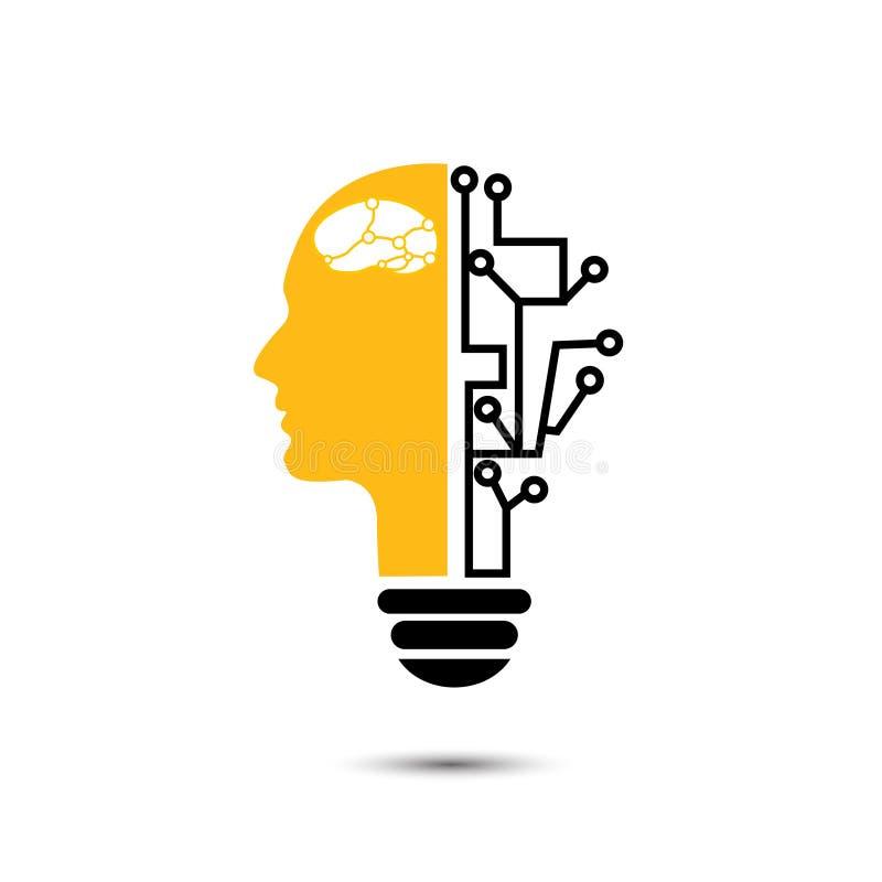 Ανθρώπινος δημιουργικός λαμπών φωτός με τα εικονίδια τεχνολογίας ελεύθερη απεικόνιση δικαιώματος