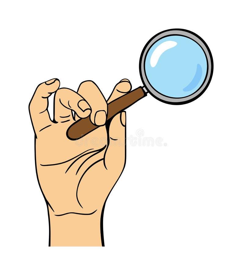 Ανθρώπινος Ιστός αναζήτησης εκμετάλλευσης χεριών loupe απεικόνιση αποθεμάτων