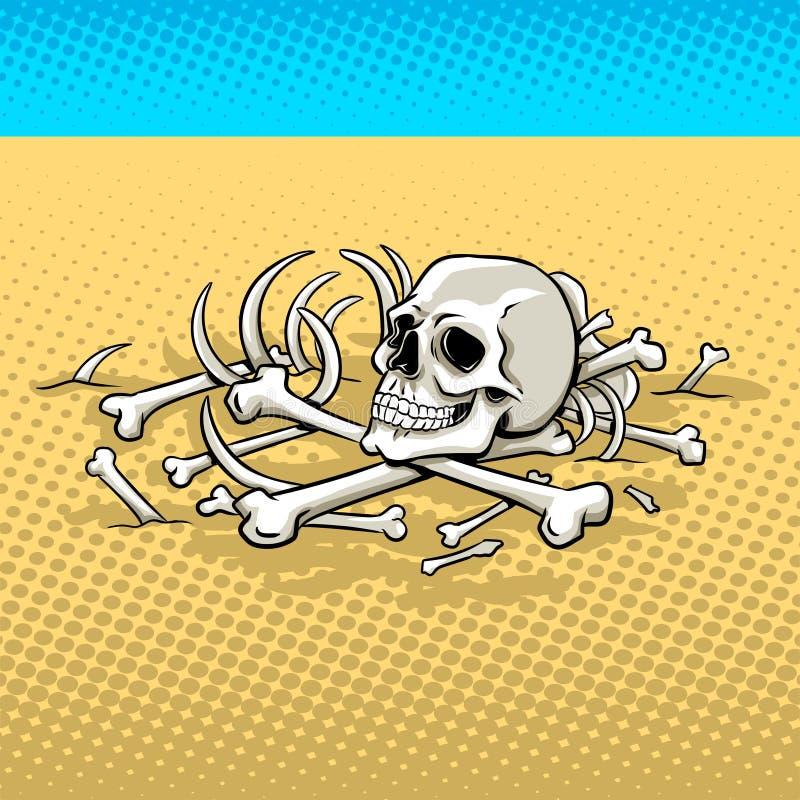 Ανθρώπινος σκελετός στο λαϊκό διάνυσμα τέχνης ερήμων διανυσματική απεικόνιση