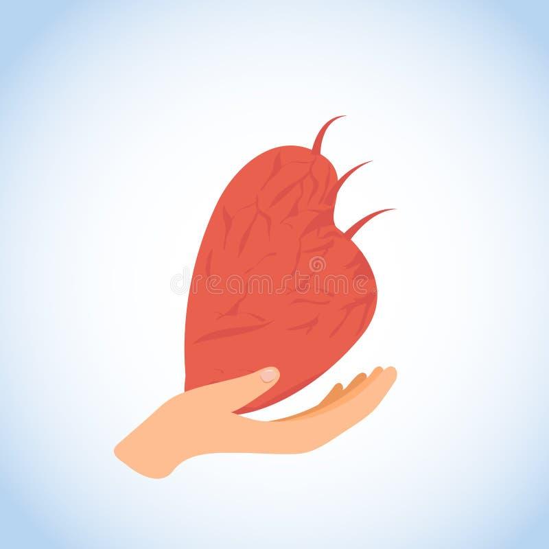 Ανθρώπινο διαθέσιμο επίπεδο διανυσματικό εικονίδιο ή λογότυπο καρδιών ελεύθερη απεικόνιση δικαιώματος
