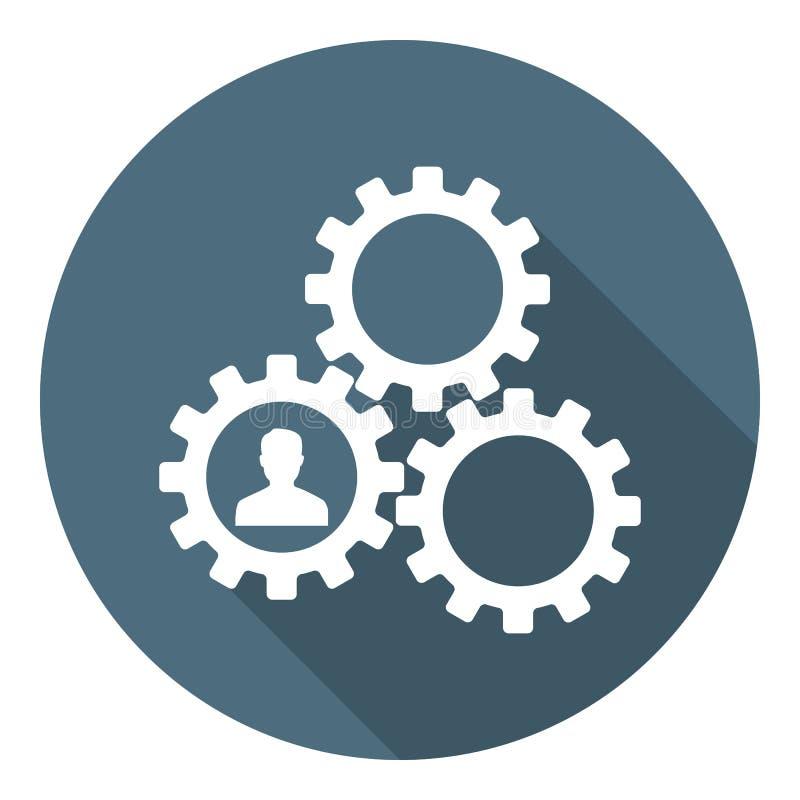 Ανθρώπινο διοικητικό εικονίδιο Resourse Εργαλεία που παρουσιάζουν ομαδική εργασία, συνεργασία, διαχείριση Επίπεδο ύφος φυσικό δια απεικόνιση αποθεμάτων