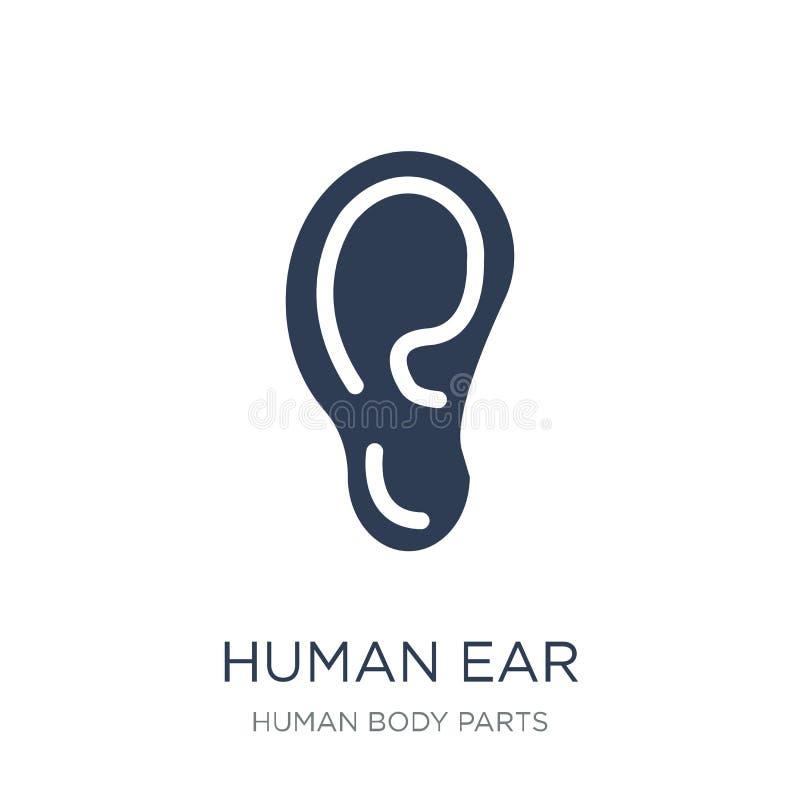 Ανθρώπινο εικονίδιο αυτιών Καθιερώνον τη μόδα επίπεδο διανυσματικό ανθρώπινο εικονίδιο αυτιών στο άσπρο backg ελεύθερη απεικόνιση δικαιώματος