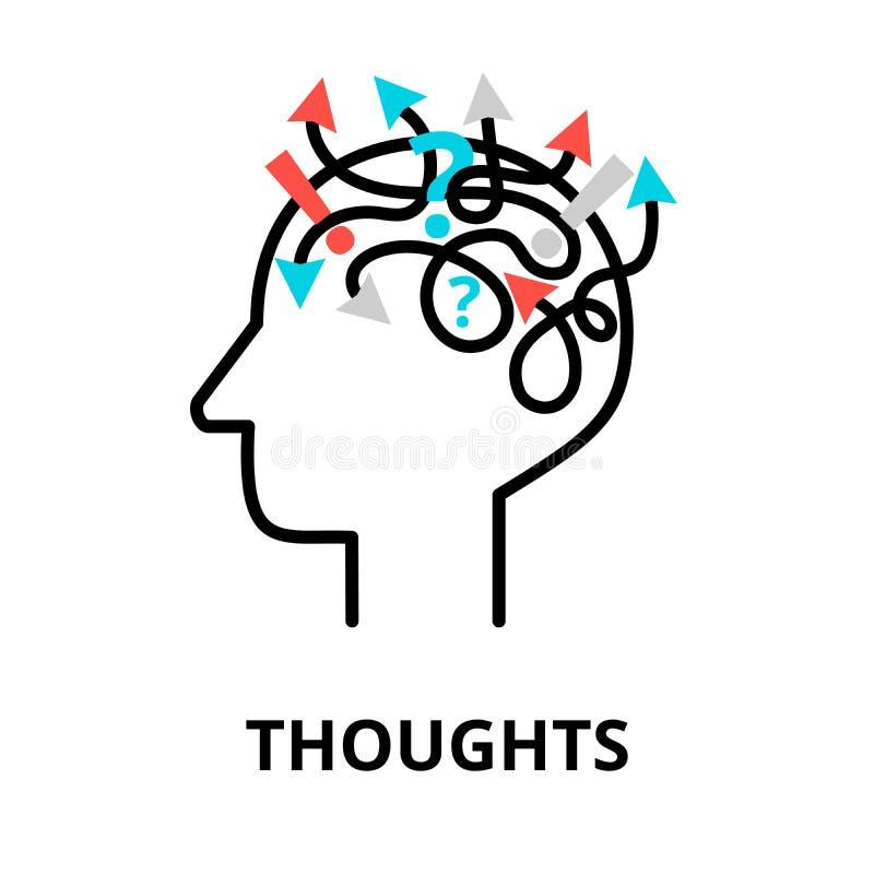 Ανθρώπινο εικονίδιο σκέψεων, επίπεδη λεπτή διανυσματική απεικόνιση γραμμών ελεύθερη απεικόνιση δικαιώματος