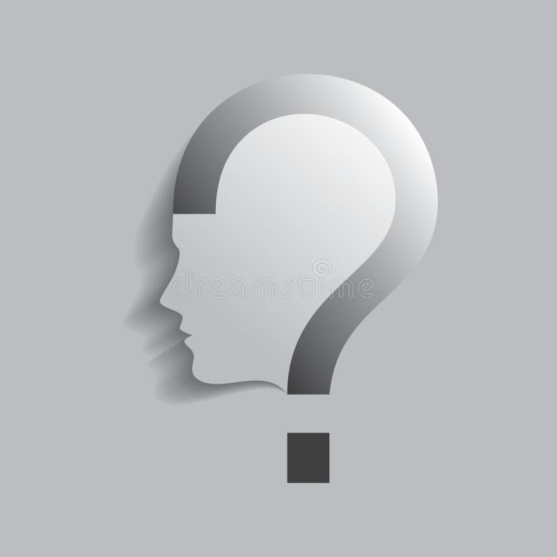 Ανθρώπινο επικεφαλής σύμβολο ερωτηματικών ελεύθερη απεικόνιση δικαιώματος