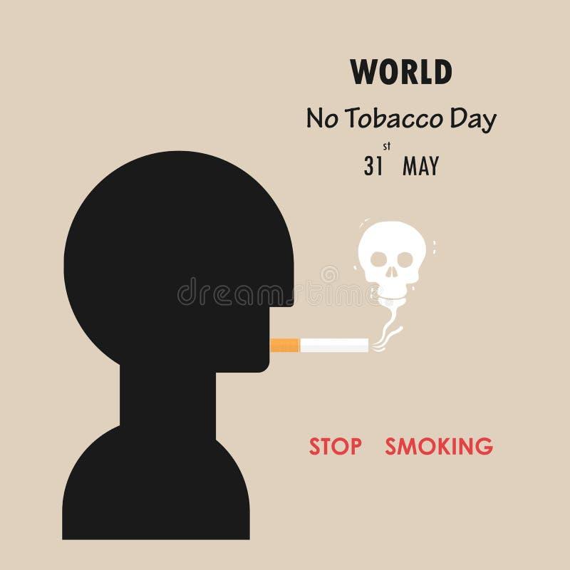 Ανθρώπινο επικεφαλής και εγκαταλειμμένο σημάδι καπνών 31 Μαΐου κόσμος καμία ημέρα καπνών ν διανυσματική απεικόνιση