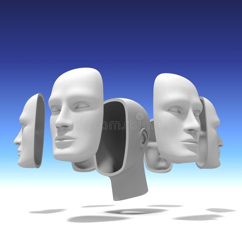 Ανθρώπινο κεφάλι με πολλά πρόσωπα ελεύθερη απεικόνιση δικαιώματος