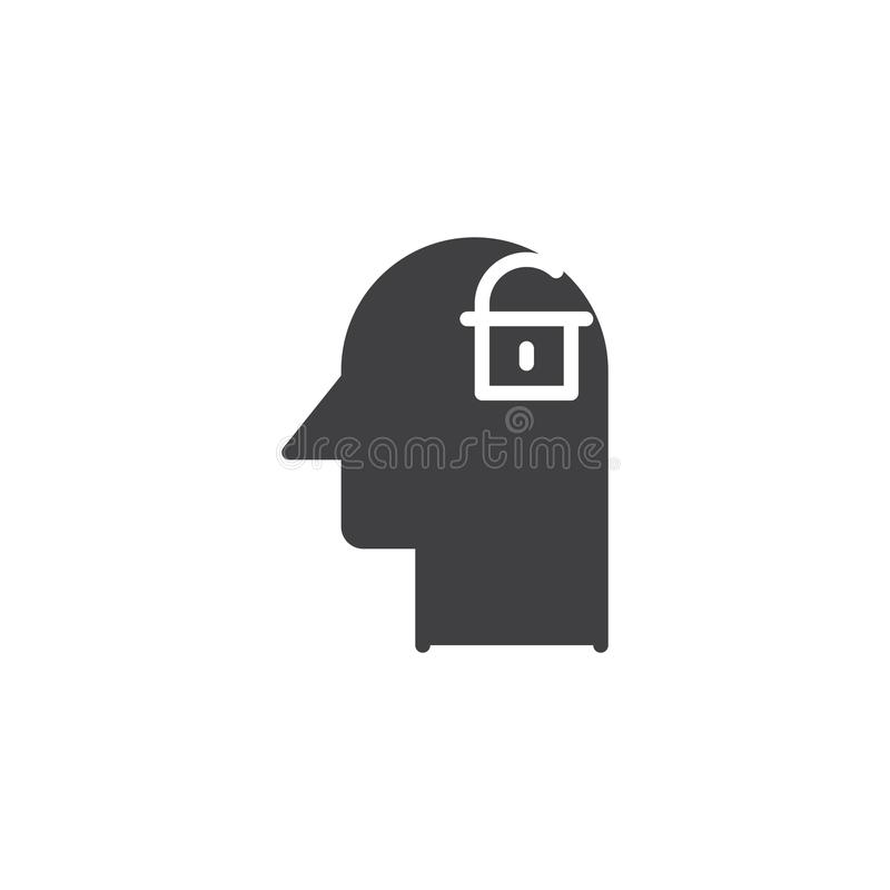 Ανθρώπινο κεφάλι με την ανοικτή κλειδαριά μέσα στο διανυσματικό εικονίδιο απεικόνιση αποθεμάτων