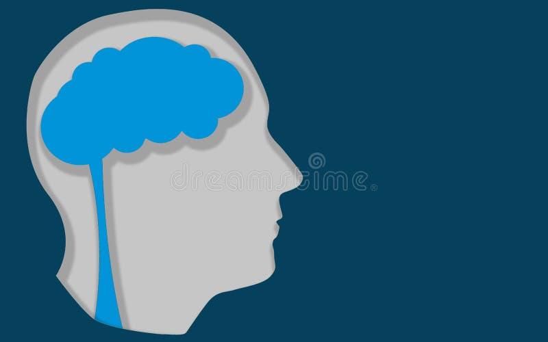 Ανθρώπινο κεφάλι με τη θέση για τις σκέψεις στον εγκέφαλο απεικόνιση αποθεμάτων