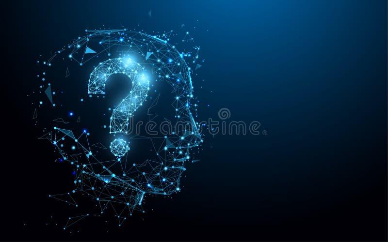 Ανθρώπινο κεφάλι με τις γραμμές μορφής ερωτηματικών, τα τρίγωνα και το σχέδιο ύφους μορίων διανυσματική απεικόνιση