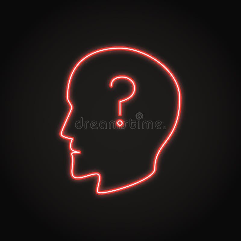 Ανθρώπινο κεφάλι με το εικονίδιο νέου ερωτηματικών ελεύθερη απεικόνιση δικαιώματος