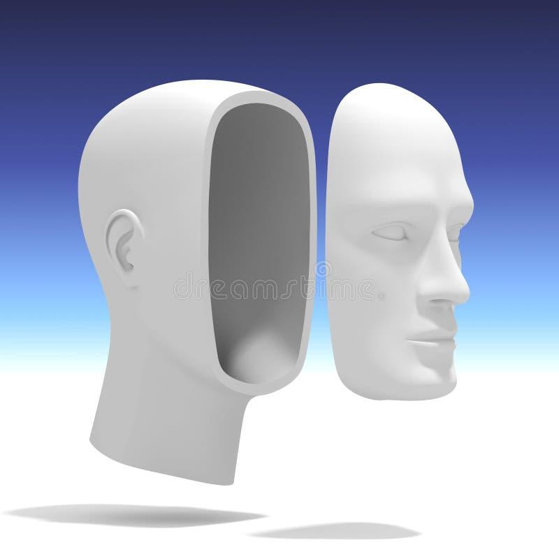 Ανθρώπινο κεφάλι με το χωριστό πρόσωπο ελεύθερη απεικόνιση δικαιώματος