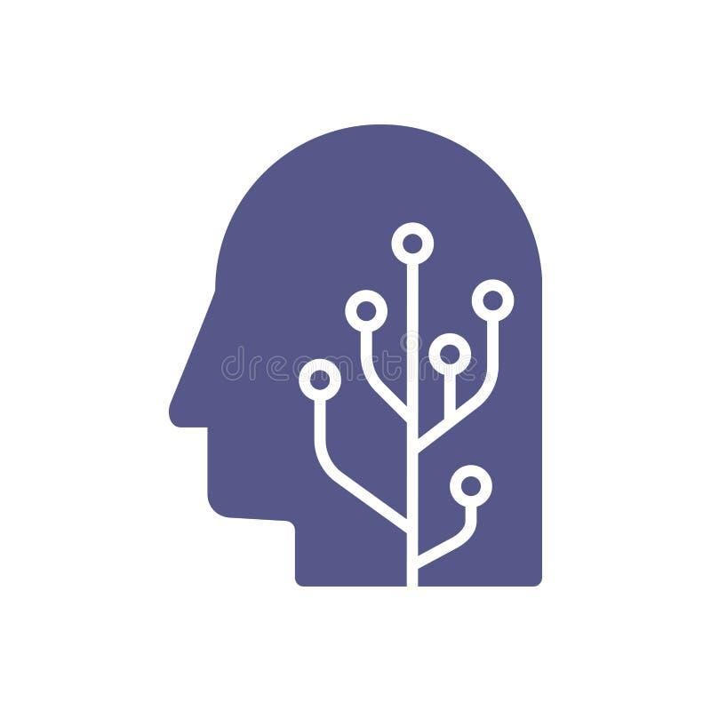 Ανθρώπινο κεφάλι μυαλού εγκεφάλου με την επικεφαλής απεικόνιση έννοιας ρομπότ τεχνητής νοημοσύνης διανυσματική απεικόνιση