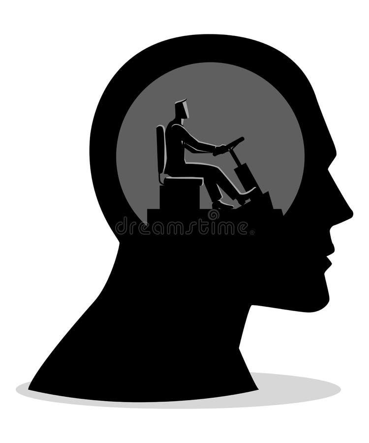 Ανθρώπινο κεφάλι που ελέγχεται από έναν επιχειρηματία απεικόνιση αποθεμάτων