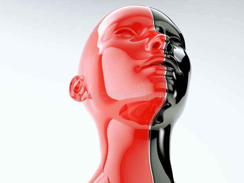 Ανθρώπινο κεφάλι που χωρίζεται από τη γραμμή ως σύμβολο της ισορροπίας και της ποικιλομορφίας διανυσματική απεικόνιση