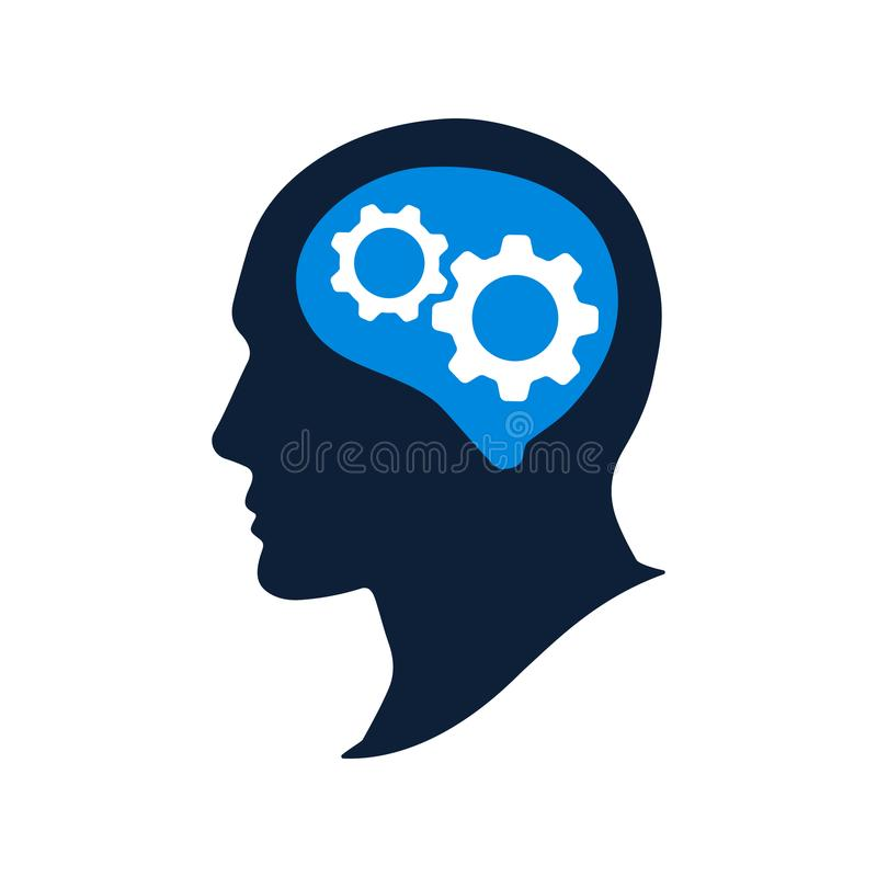 Ανθρώπινο κεφάλι σκιαγραφιών με το διανυσματικό illustation εργαλείων Εικονίδιο εγκεφάλου σκέψης απεικόνιση αποθεμάτων