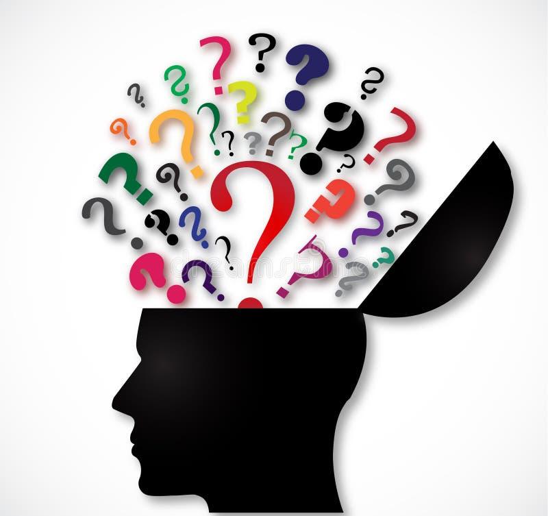 Ανθρώπινο κεφάλι ανοικτό με τα ερωτηματικά χρώματος απεικόνιση αποθεμάτων