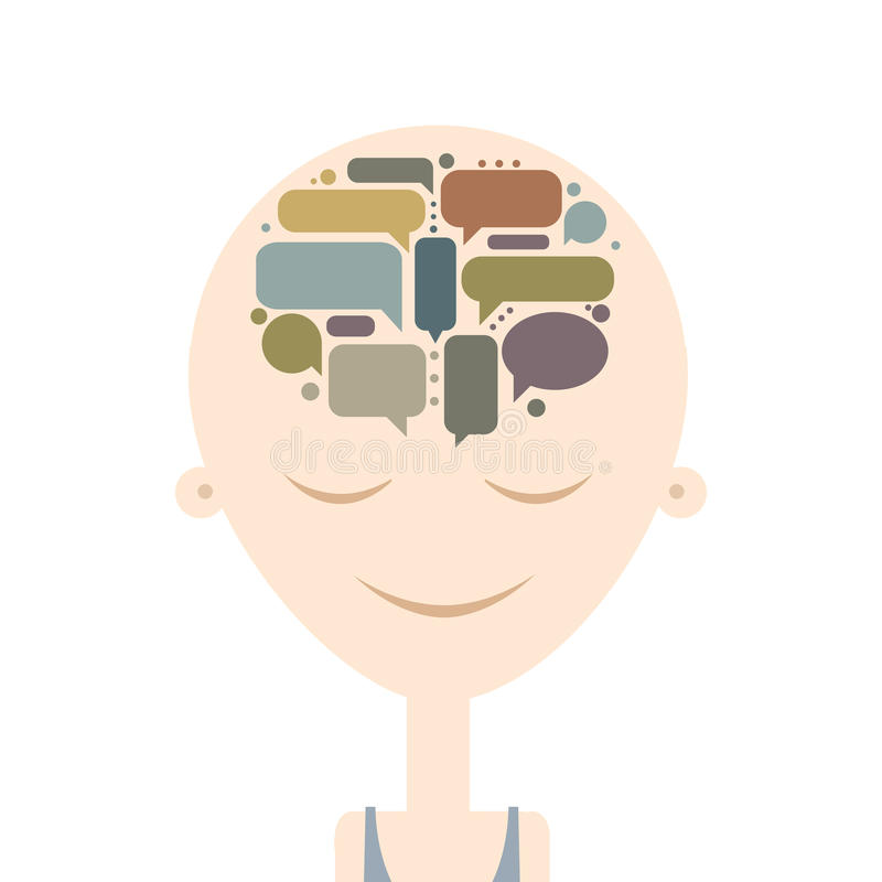 Ανθρώπινο κεφάλι και σκέψεις, σχέδιο έννοιας απεικόνιση αποθεμάτων