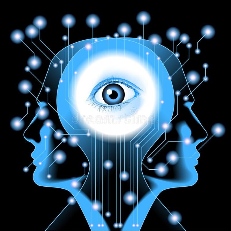 Ανθρώπινο κεφάλι, μάτι και ηλεκτρονικός πίνακας ελεύθερη απεικόνιση δικαιώματος