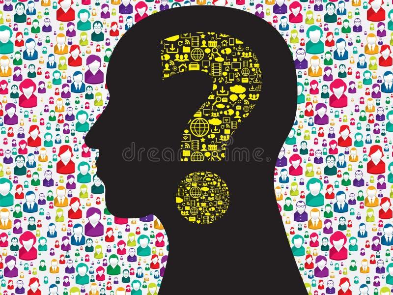 Ανθρώπινο κεφάλι με το σύμβολο ερωτηματικών απεικόνιση αποθεμάτων