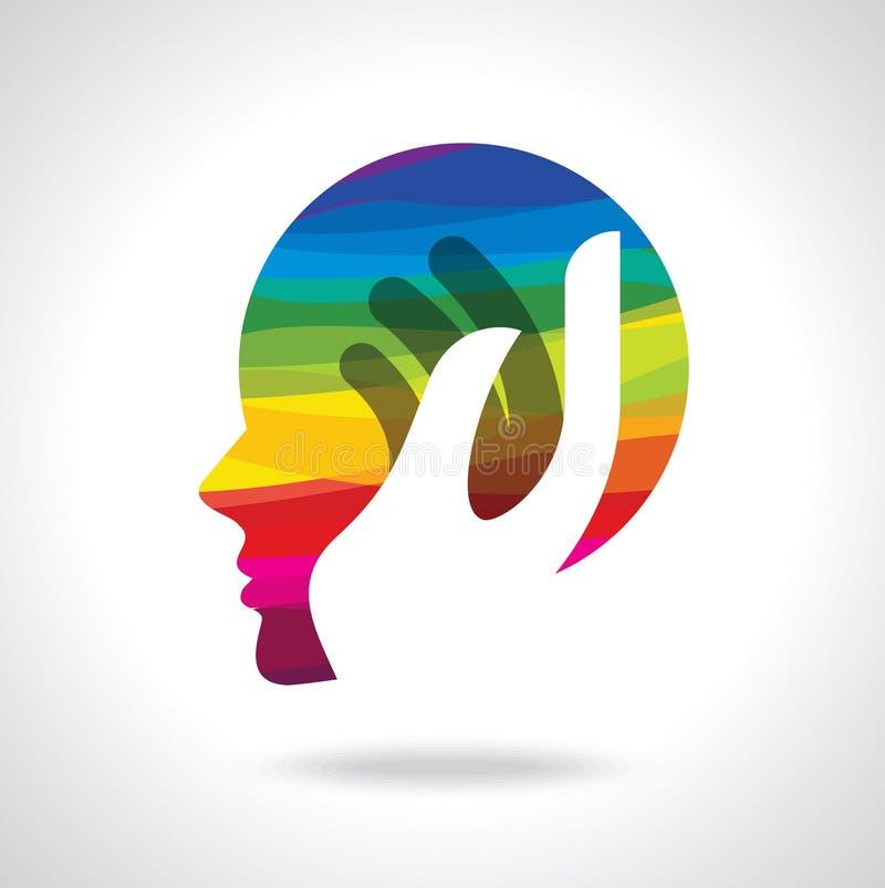 Ανθρώπινο κεφάλι που σκέφτεται μια νέα ιδέα διανυσματική απεικόνιση