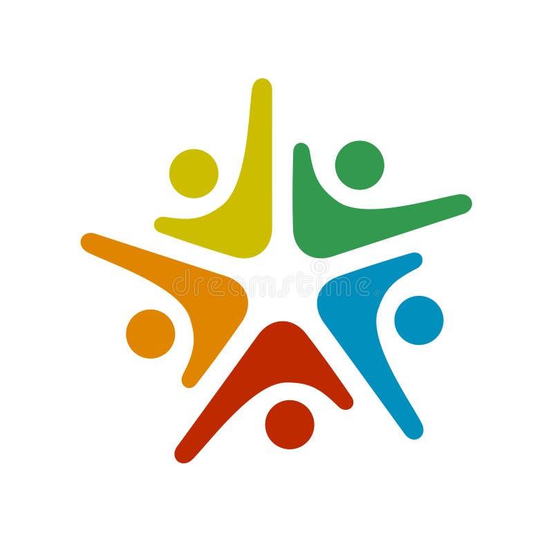 Ανθρώπινο κοινοτικό σύμβολο πέντε ανθρώπων διανυσματική απεικόνιση