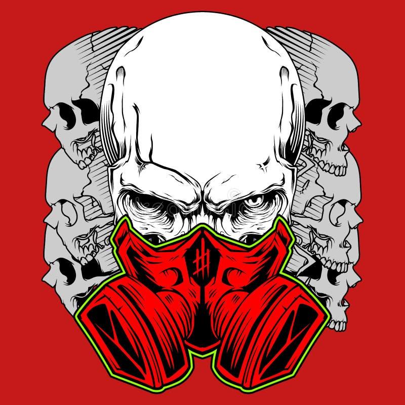 Ανθρώπινο κρανίο στη μάσκα αερίου E ελεύθερη απεικόνιση δικαιώματος