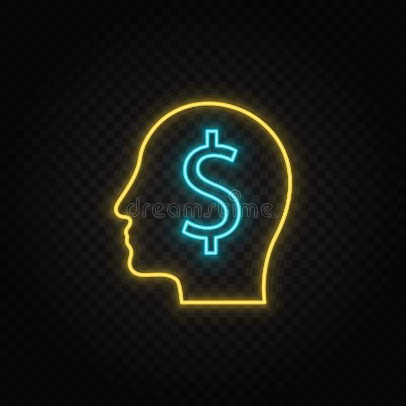 Ανθρώπινο μυαλό, οικονομία, νομισματικό εικονίδιο νέον Εικονίδιο διάνυσματος μπλε και κίτρινου νέον ελεύθερη απεικόνιση δικαιώματος