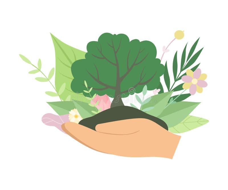 Ανθρώπινο πράσινο δέντρο εκμετάλλευσης χεριών, προστασία του περιβάλλοντος, διανυσματική απεικόνιση οικολογίας ελεύθερη απεικόνιση δικαιώματος