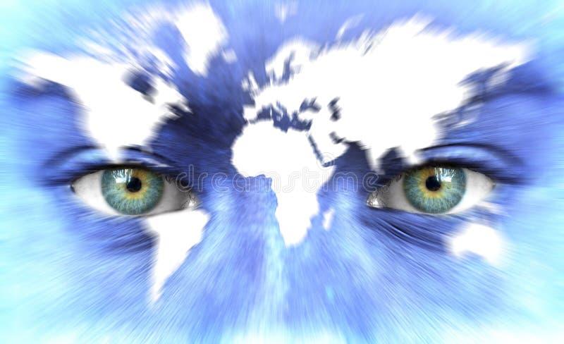 Ανθρώπινο πρόσωπο με το χάρτη του κόσμου - ταχύτητα της έννοιας ζωής στοκ φωτογραφίες με δικαίωμα ελεύθερης χρήσης