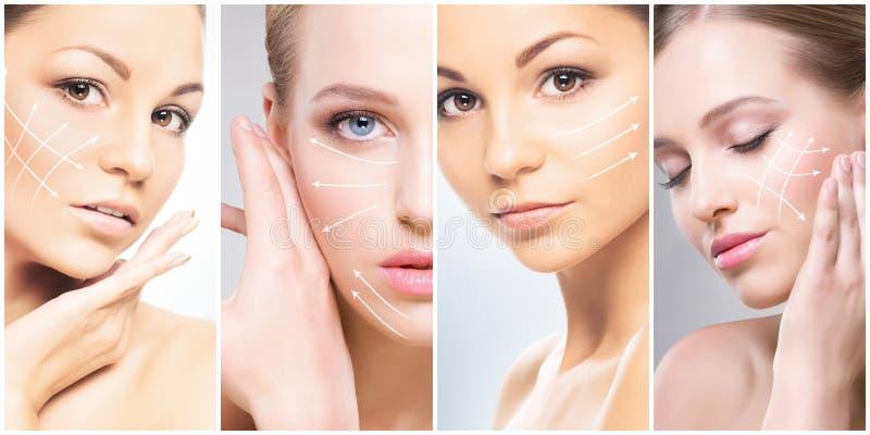 Ανθρώπινο πρόσωπο σε ένα κολάζ Νέα και υγιής γυναίκα στην έννοια ανύψωσης πλαστικής χειρουργικής, ιατρικής, SPA και προσώπου στοκ φωτογραφία