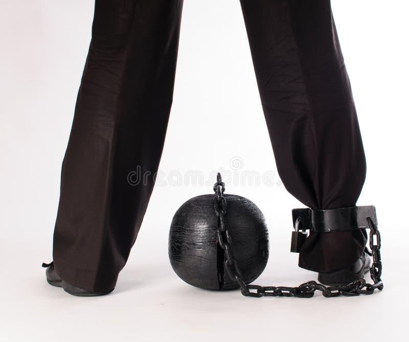 Ανθρώπινο πόδι με μια σφαίρα φυλακών στοκ εικόνες με δικαίωμα ελεύθερης χρήσης