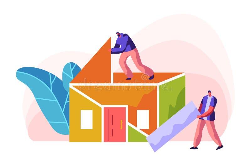 Ανθρώπινο σπίτι χρώματος κατασκευής οικοδόμων Άτομο στη στέγη εγκατάστασης διαδικασίας στο εσωτερικό Ο επιστάτης προσώπων φέρνει  διανυσματική απεικόνιση