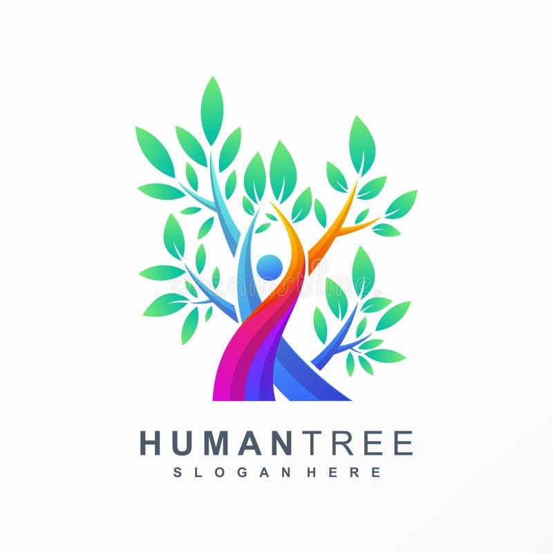 Ανθρώπινο σχέδιο λογότυπων δέντρων ζωηρόχρωμο ελεύθερη απεικόνιση δικαιώματος