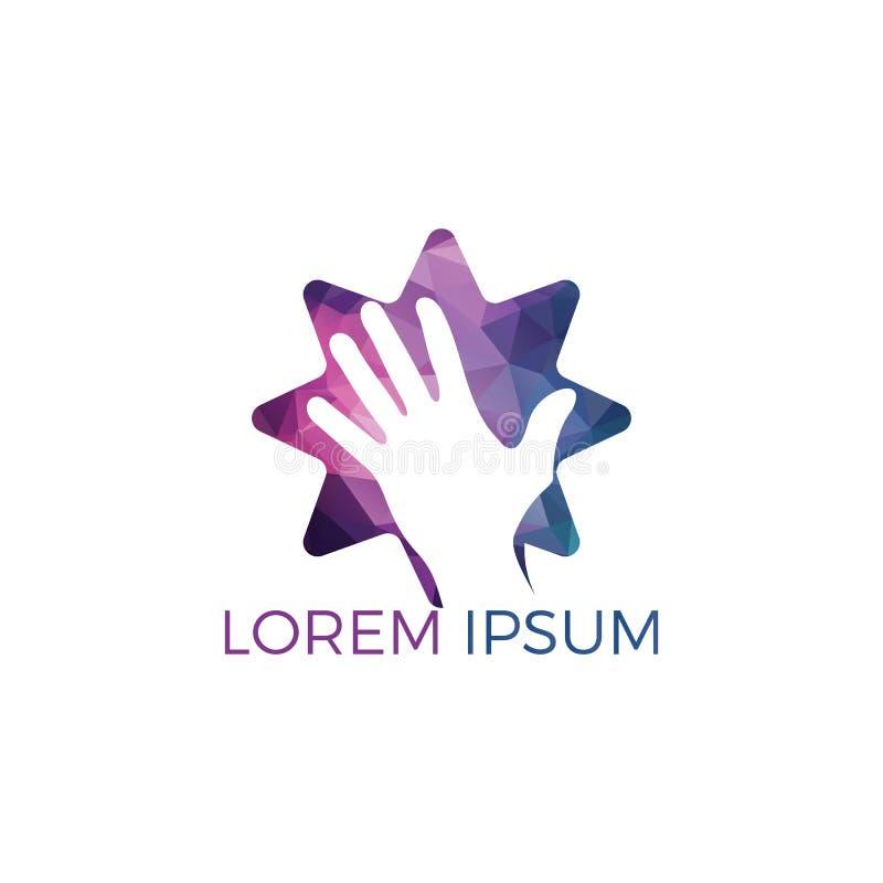 Ανθρώπινο χέρι με το διανυσματικό σχέδιο λογότυπων αστεριών διανυσματική απεικόνιση