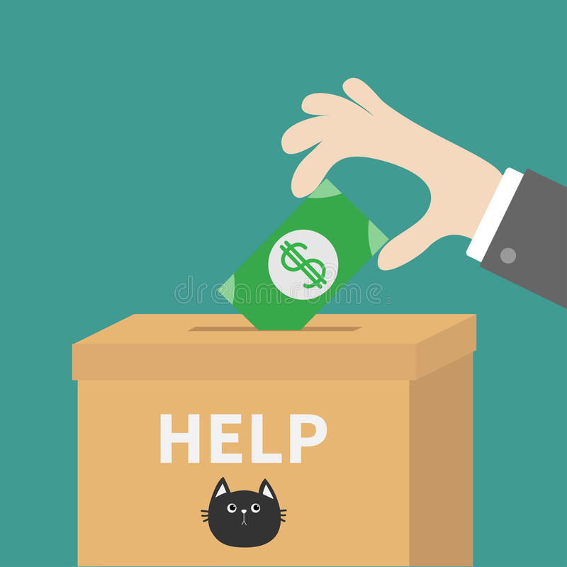 Ανθρώπινο χέρι που βάζει το λογαριασμό χρημάτων εγγράφου με το σημάδι δολαρίων στο κουτί από χαρτόνι εγγράφου δωρεάς απεικόνιση αποθεμάτων