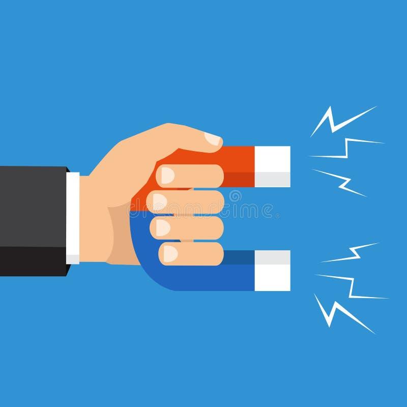 Ανθρώπινο χέρι που κρατά έναν μαγνήτη Διανυσματική απεικόνιση, επίπεδο ύφος ελεύθερη απεικόνιση δικαιώματος