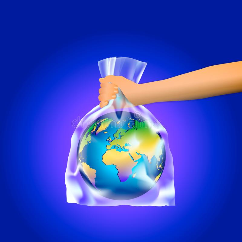 Ανθρώπινο χέρι που κρατά το πλανήτη Γη σε μια διαφανή πλαστική τσάντα σε ένα μπλε υπόβαθρο Η έννοια της μη χρήσης των πλαστικών τ διανυσματική απεικόνιση