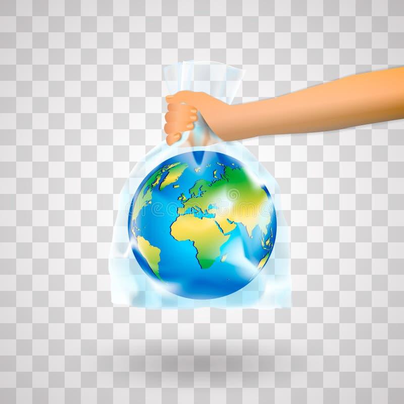 Ανθρώπινο χέρι που κρατά το πλανήτη Γη στη πλαστική τσάντα που απομονώνεται σε ένα διαφανές υπόβαθρο Η έννοια της μη χρήσης των π ελεύθερη απεικόνιση δικαιώματος