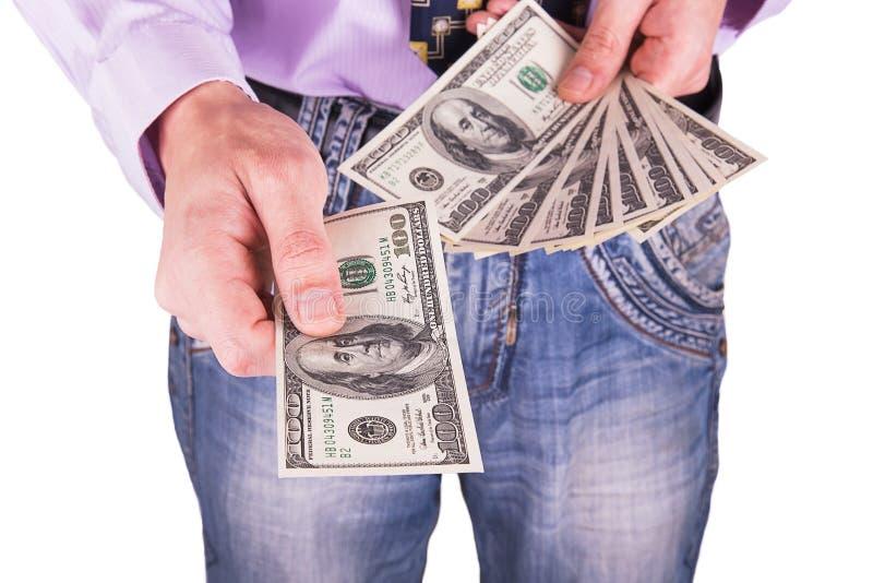 Ανθρώπινο χέρι που φθάνει έξω στα χρήματα στοκ φωτογραφία με δικαίωμα ελεύθερης χρήσης