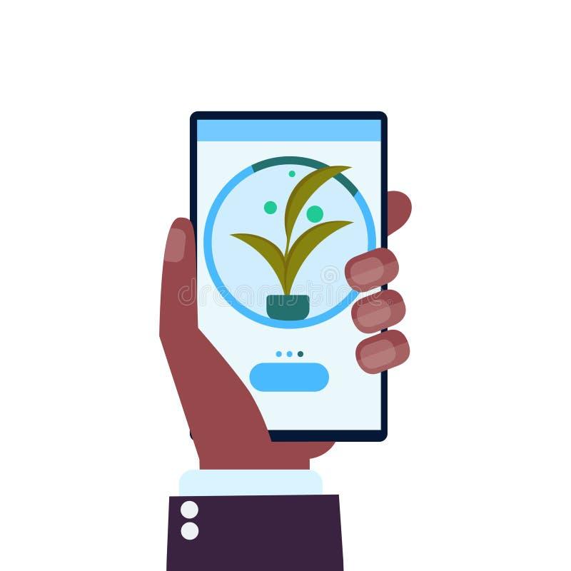 Ανθρώπινο χέρι που χρησιμοποιεί τις κινητές app έξυπνες σύγχρονες οργανικές εγκαταστάσεις οθόνης smartphone έννοιας γεωργίας συστ απεικόνιση αποθεμάτων