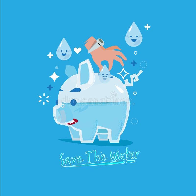 Ανθρώπινο insterting σταγονίδιο χεριών του νερού στη piggy τράπεζα γυαλιού Κοβάλτιο ελεύθερη απεικόνιση δικαιώματος