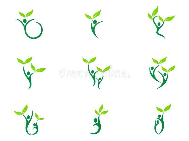 Ανθρώπων wellness λογότυπων υγειονομικής περίθαλψης ικανότητας eco φιλικό πράσινο ζευγών γεωργίας σχέδιο εικονιδίων συμβόλων επιτ διανυσματική απεικόνιση