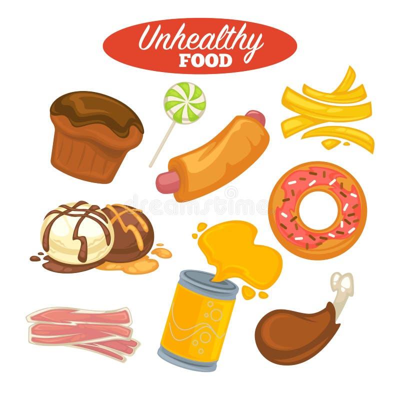 Ανθυγειινό αφίσα τροφίμων ή γρήγορο φαγητό και λίπος που τρώνε το κρέας και τα γλυκά απεικόνιση αποθεμάτων