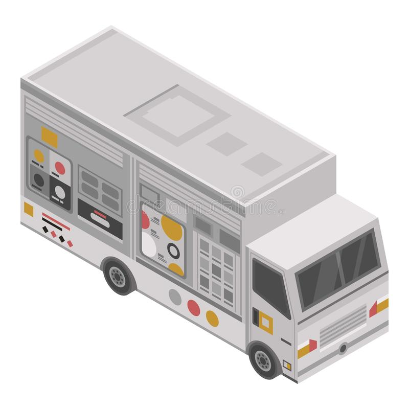 Ανθυγειινό εικονίδιο φορτηγών τροφίμων, isometric ύφος απεικόνιση αποθεμάτων