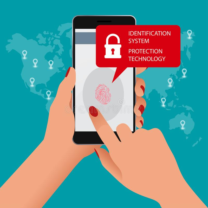 Ανιχνευτής δακτυλικών αποτυπωμάτων, σύστημα προσδιορισμού, έννοια τεχνολογίας προστασίας Διανυσματική απεικόνιση της κινητής τηλε διανυσματική απεικόνιση