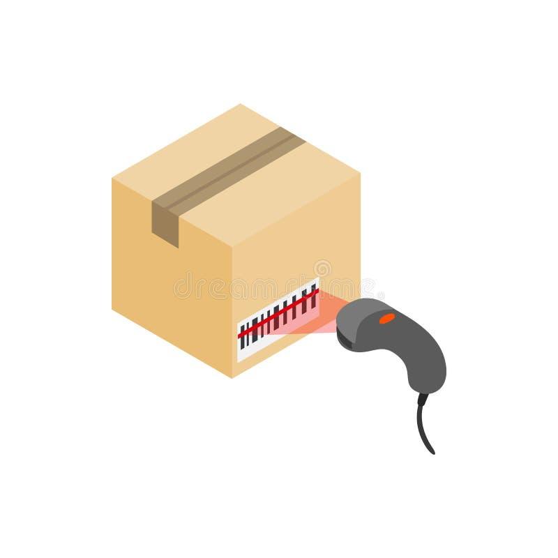 Ανιχνευτική ετικέτα στο κιβώτιο με το εικονίδιο ανιχνευτών γραμμωτών κωδίκων απεικόνιση αποθεμάτων