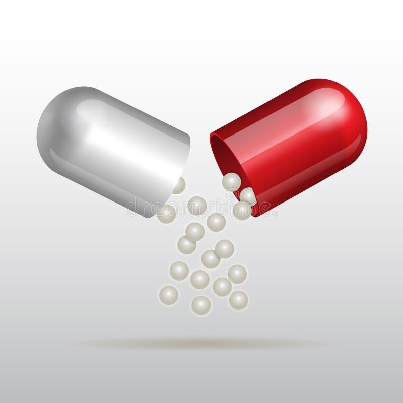 Ανοίγοντας κόκκινη ιατρική κάψα απεικόνιση αποθεμάτων
