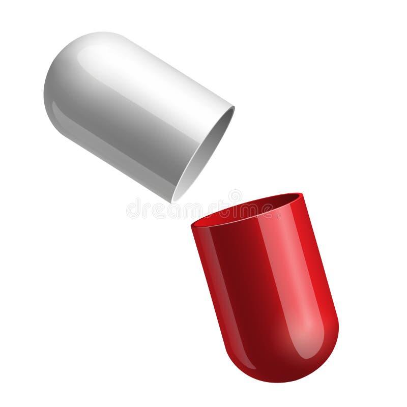 Ανοίγοντας κόκκινη ιατρική κάψα διανυσματική απεικόνιση