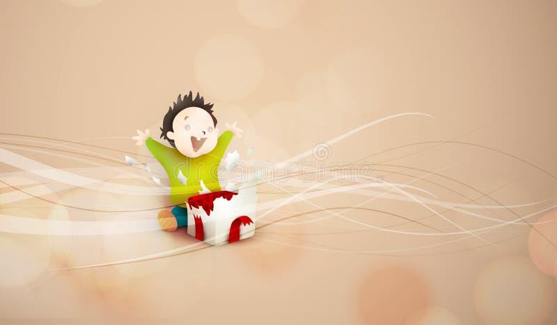 Ανοίγοντας παρόν παιδιών, giftbox απεικόνιση αποθεμάτων