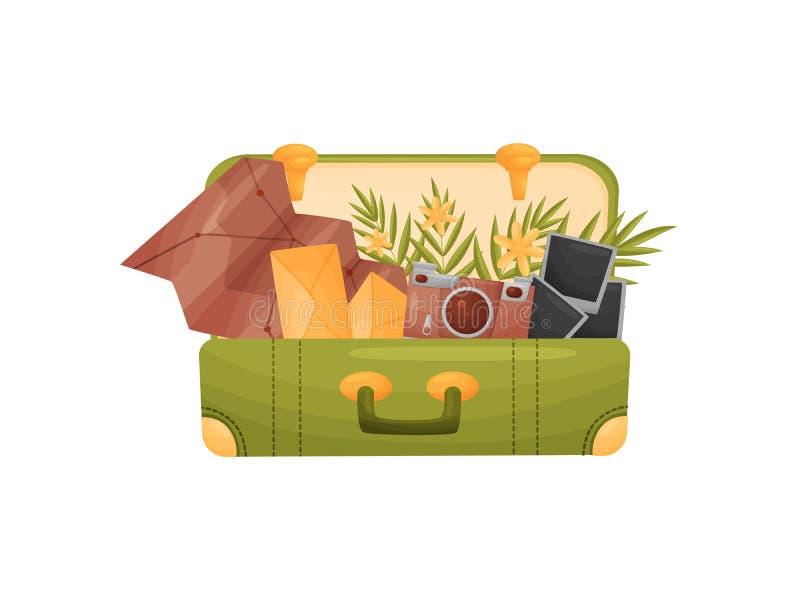 Ανοίξτε μια πράσινη βαλίτσα με τις ιδιότητες για να ταξιδεψει μέσα E ελεύθερη απεικόνιση δικαιώματος
